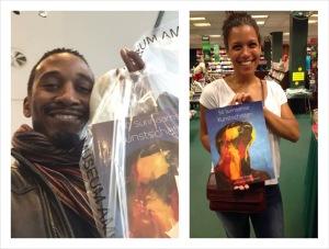 Van links naar rechts: Duane Cyrus in winkel Stedelijk museum (Amsterdam), Yomi Hoever in Vaco boekhandel (Paramaribo)