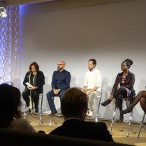 Het panel, van links naar rechts: Usha Marhé, Bart Krieger, Pepijn Reeser, Astrid Elburg